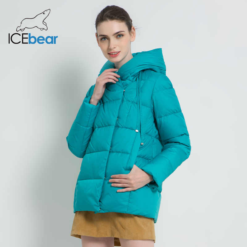 ICEbear 2019 New Winter Women's Coat Brand Clothing Casual Woman Winter Jacket Hooded Female Parkas GWD19011I