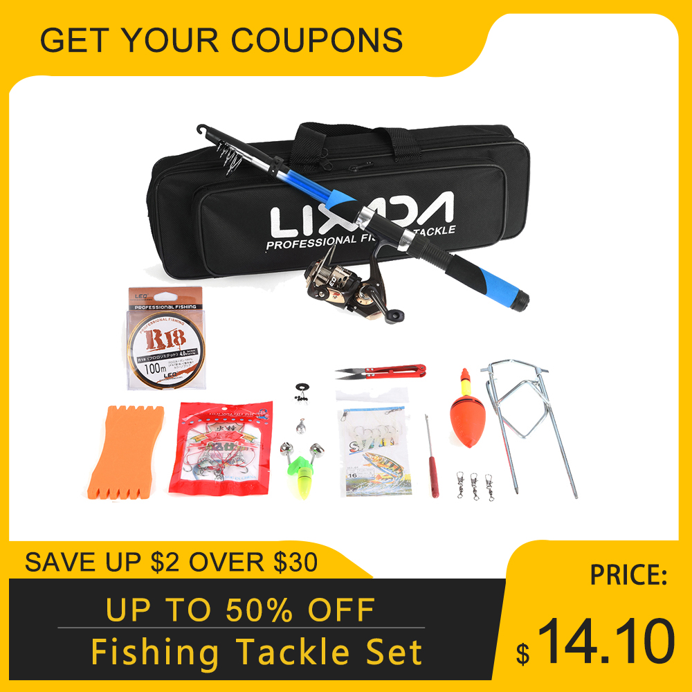 Lixada Fishing-Tackle-Set Fiberglass Spinning-Reel Baits Telescopic Seawater with Sea-Rod title=