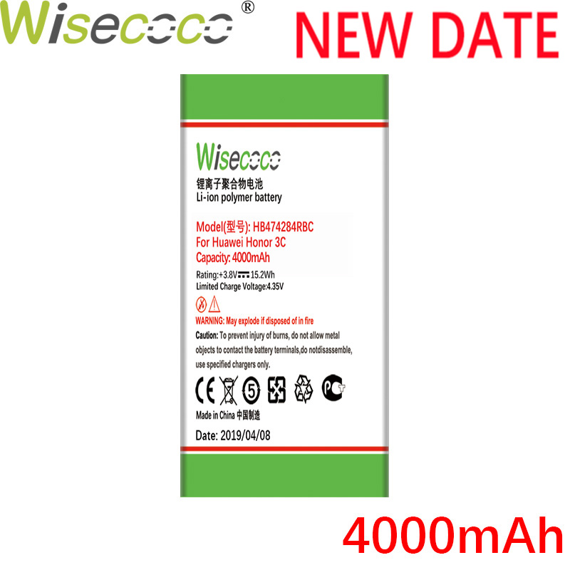 Wisecoco HB474284RBC 4000mAh New Battery For Huawei Honor 3C Lite C8816 C8816D G521 G615 G601 G620 Y635 Y523 Y625-U32 Y625-U51