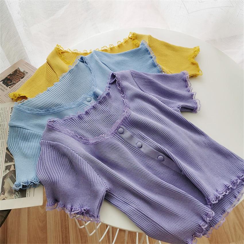 2020 Summer Thin Knit Crop Top Pink White T Shirt Women Short Sleeve Solid Tshirt Korean Sweet Cute T-shirt Camisetas Mujer 3