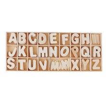 156 sztuk drewniane ozdoby drewniane litery alfabet rękodzieło Scrapbook dzieci zabawki