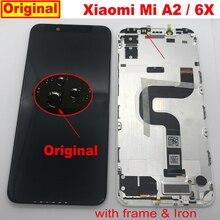 100% الأصلي شاومي Mi A2 MIA2 الاستشعار LCD عرض تعمل باللمس محول الأرقام الجمعية مع الإطار Mi 6X MI6X M6X الهاتف لوحة أجزاء