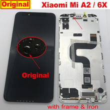 100% המקורי Xiaomi Mi A2 MIA2 חיישן LCD תצוגת מסך מגע Digitizer עצרת עם מסגרת Mi 6X MI6X M6X טלפון פנל חלקי