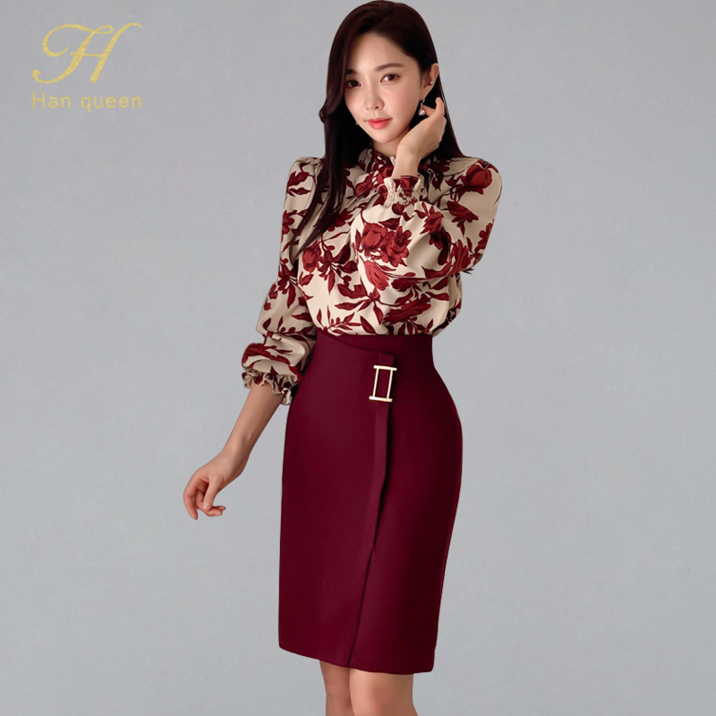 H Han Queen Women 2020 Spring Sexy Print Fashion Casual OL Work Wear 2 Pieces Set Sheath Pencil Bodycon Suit Skirt