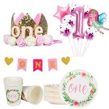Jeden dekoracja na urodziny jednorazowe talerzyk pod kubek baner 1 roku życia pierwsze urodziny dziewczyna balony na imprezę formularz e-maila znajdą 1st artykuły urodzinowe