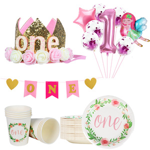 One Birthday Decor disposable cup plate Banner 1 year old First Birthday Girl Party Balloons Happy 1st Birthday Supplies