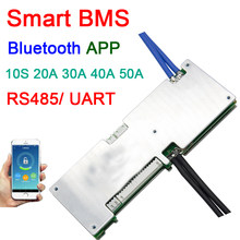 Smart 10S 36V 50A 40A 30A 20A li-ion batterie au Lithium carte de protection équilibre bms pcm Bluetooth app UART logiciel moniteur(China)