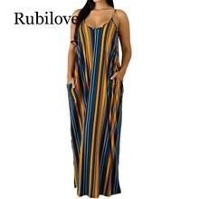 Rubilove Plus Size Long Maxi Dress Women Striped Print Boho Bohemian Beach Dress Spaghetti Strap Bandage Sexy Club Party Dresses все цены