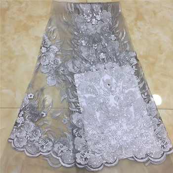Nigerian Lace Fabric 2020 High Quality Sequin white Lace Fabric Royal Blue Embroidered Tulle African Velvet Lace Fabric 5 Yards