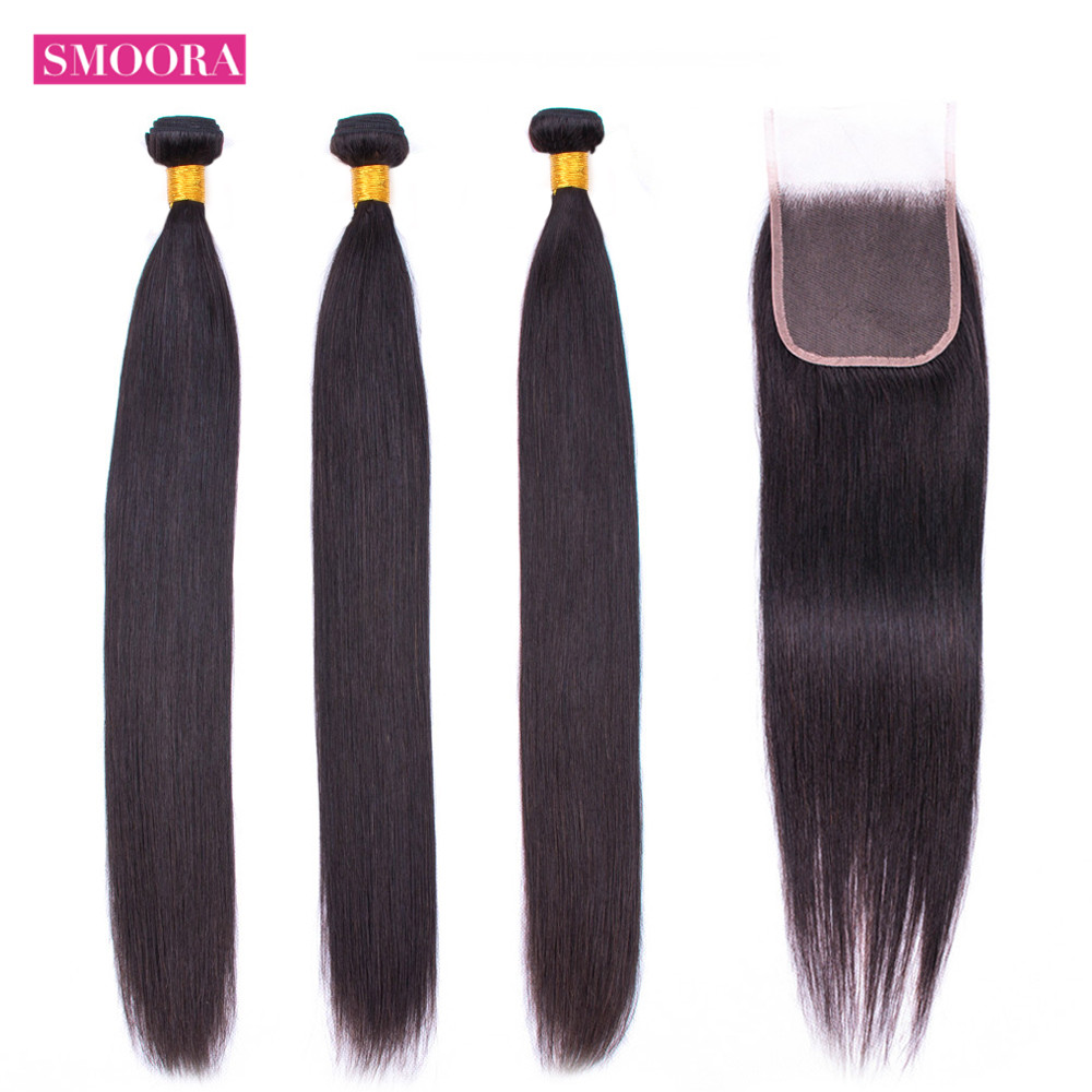 HD Lace Closure With Human Hair Straight Brazilian Hair Weaves Bundles With Closure 4*4 Natural Black Non Remy 4PCs/Lot