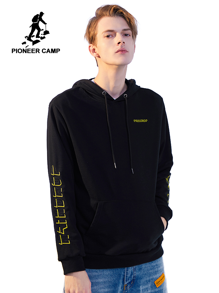 Pioneer Camp 2020 Spring Hooded Sweatshirts Mens Letter Embroidery Streetwear Hip Pop Hoodies Male AWY0102016