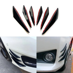 6pcs/set Universal Front Bumper Lip Decoration Diffuser Splitter Fins Body Spoiler Canards Valence Chin Car Tuning Canard
