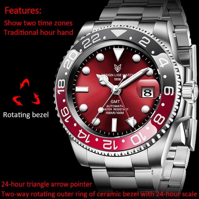 LIGE DESIGN Men GMT Automatic Mechanical Watch Ceramic Bezel 316L Stainless Steel 100ATM Waterproof Clock Sapphire Glass Watches 6