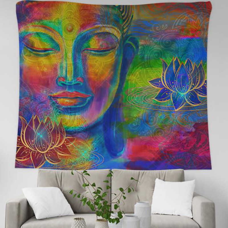 India Buddha Tapestry Mandala Wall Hanging Tapestry Carpet Psychedelic Bedspread Wall Cloth Tapestries Decor Polyester 95x73cm