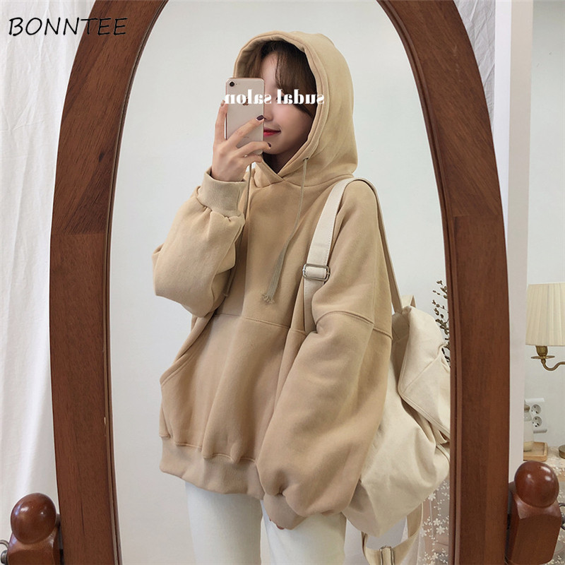Hoodies Women Streetwear Ulzzang Simple Loose Plus Velvet Large Size Soft Solid Hooded Warm Harajuku Womens Clothing Chic Casual
