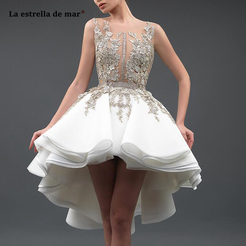 Sukienka Koktajlowa Sexy Sheer Neck 3D Lace Appliques Tulle Backless High Low Ivory Gold Cocktail Dresses Tea Length Prom Gowns