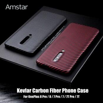 Перейти на Алиэкспресс и купить Защитный чехол из углеродного волокна Amstar для OnePlus 8 Pro 7 7t Pro Ультратонкий чехол с защитой от падения и отпечатков пальцев кевлар углеродного ...