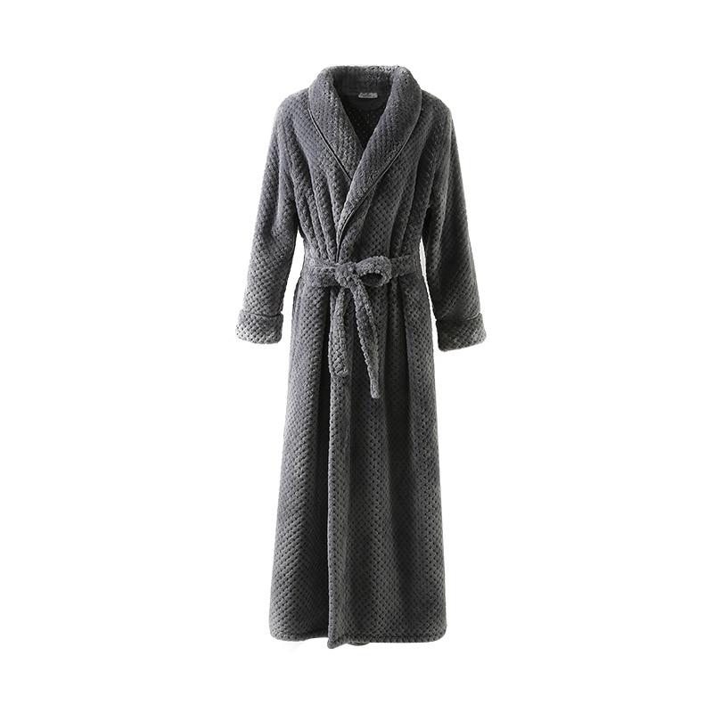 Sleeve Kimono Bath Robe Male Long Sleeve Warm Dressing Gown Winter Gray Robe Extra Long Flannel Bathrobe Size M L XL
