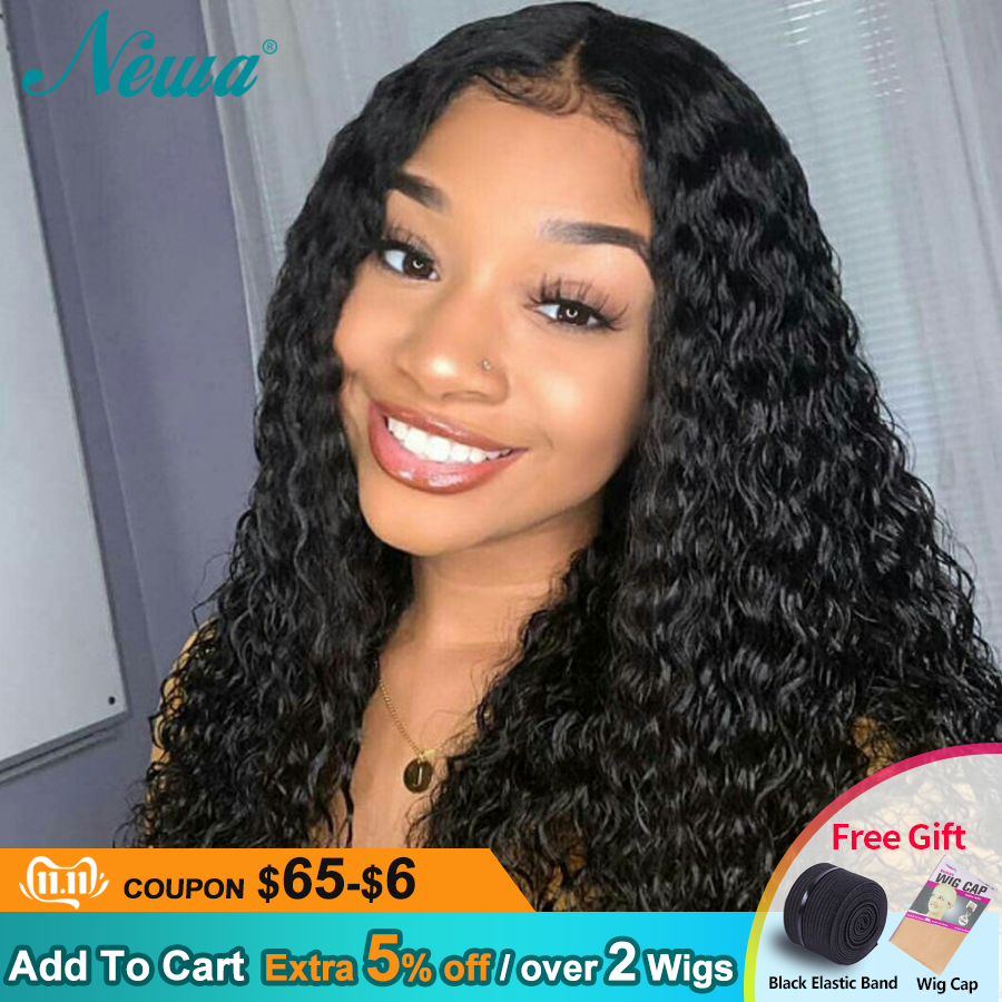 Newa Hair 360 Lace Frontal Wig Pre Plucked With Baby Hair Brazilian Curly Lace Frontal Human Hair Wigs For Black Women Remy Wigs