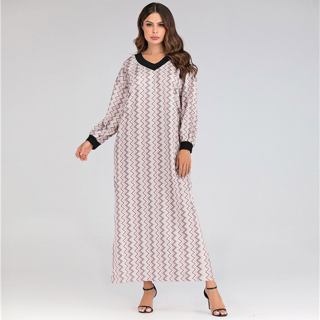 ropa mujer vestidos plus size dress women's Loose Fashion Printing Arab Robe Muslim Fancy Stripes winter dress sukienki