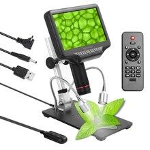 Andonstar Cámara de microscopio biológico Digital profesional, Original, 270X, 1080P, para soldar con pantalla 3D de 7 pulgadas y soporte