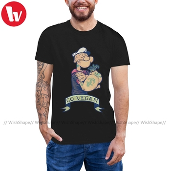 цена на Popeye T Shirt Vegan Popeye T-Shirt Streetwear Short Sleeve Tee Shirt Fun Plus size Cotton Mens Print Tshirt
