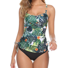 2020 New Plus Size Swimwear Women Swimsuit Sexy Tankini Set Two-piece Suits Ruched Print Padded Bandage Bathing Suit Swimdress floral padded plus size swimdress