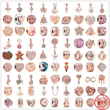 Newst Original accessories pendant chain dangle clip rose bead fit Pandora charms silver 925 Bracelet necklace DIY women jewelry