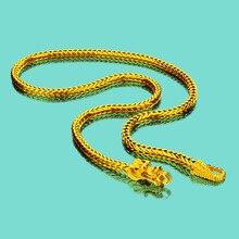 خاص 24k عقد ذهب للرجال التنين الصيني قلادة 925 سلسلة فضية قلادة رجالية مجوهرات فاخرة عيد ميلاد طول 50 60 سنتيمتر
