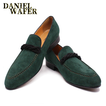 LUXURY MEN'S SUEDE LOAFERS HAND MADE SLIP ON GREEN CASUAL SHOES PENNY LOAFERS FORMAL MEN DRESS OFFICE WEDDING LEATHER SHOES MEN loubuten loafers men slip on suede leather shoes mens loafers with bow knot luxury dress shoes fashion men s smoking flats