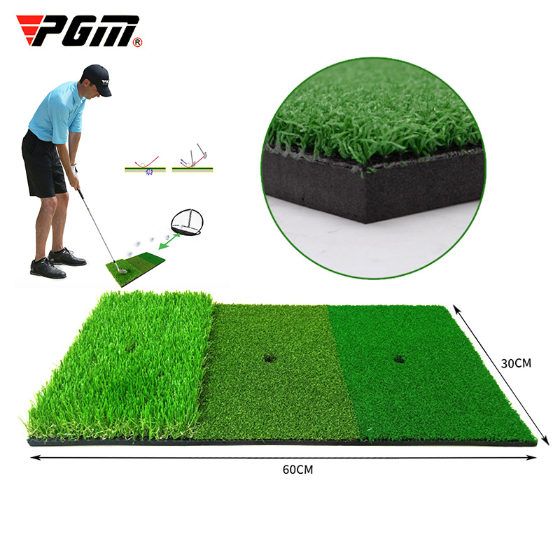 PGM Golf Hitting Mat 3 Grasses With Rubber Tee Hole Golf Training Aids Indoor Outdoor Tri-Turf Golf Hitting Grass Golf Mats