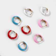 2019 Small Hoop Earrings Women Colorful Enamel Mini Earring Neon Round Circle Jewelry Aretes Dainty Huggie Trendy White Pink Red цены