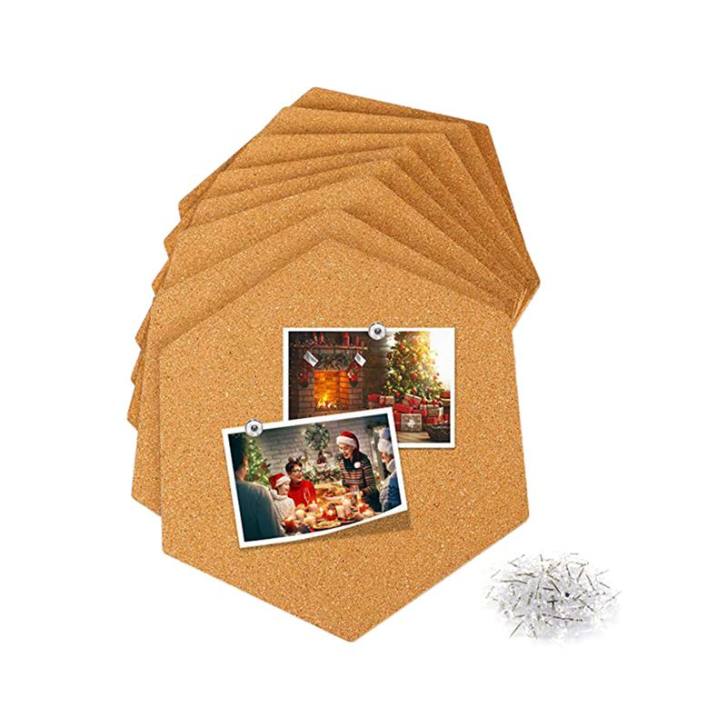 8pcs Hexagon Cork Boards Photo Wall Message Boards Self-Adhesive Background Wall Bulletin Wall Stickers (Brown)