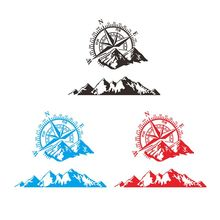 Compass Mountain Print Vinyl Car Sticker Navigate Offroad Decal Outdoor Body