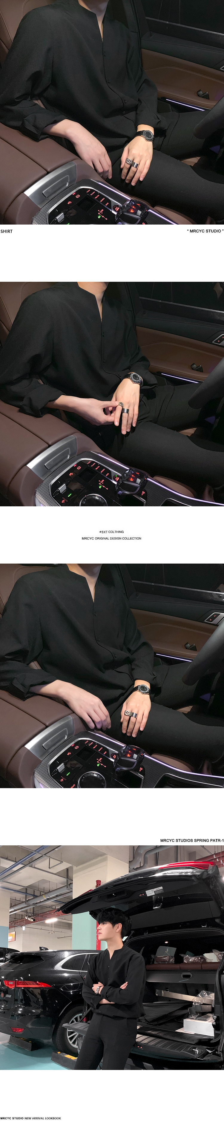H8631c49a77184eb6a71388465fb734a2b IEFB /men's wear 2020 autumn casual stand collar solid color shirt for male Personality Trend Handsome Long Sleeve s 9Y899