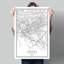 Black White World City Map Poster Nordic Living Room  Wall Art Pictures Home Decor Canvas Painting Albania Tirana Durres Kamez early childhood caries in tirana albania