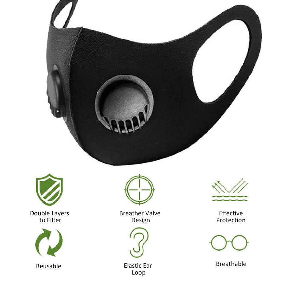 Protection Mask Breathable Mask Dustproof Windproof Face Mouth Mask Reusable Washable Stereo Protective Mask with Breather Valve