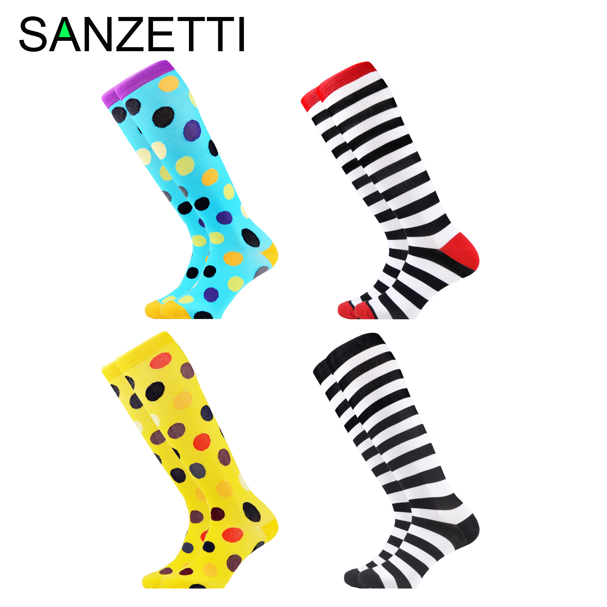 SANZETTI 4 Pairs/Lot Women Dot  Striped Combed Cotton Compression Socks Below Knee Geometric Anti-Fatigue Long Colorful Socks