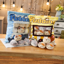 Pudding Cats Bag Blue Yellow Plush Mini Animals Dolls 8 Pieces Snack Bag Food Plushie Kids Xmas Gift 40*38cm