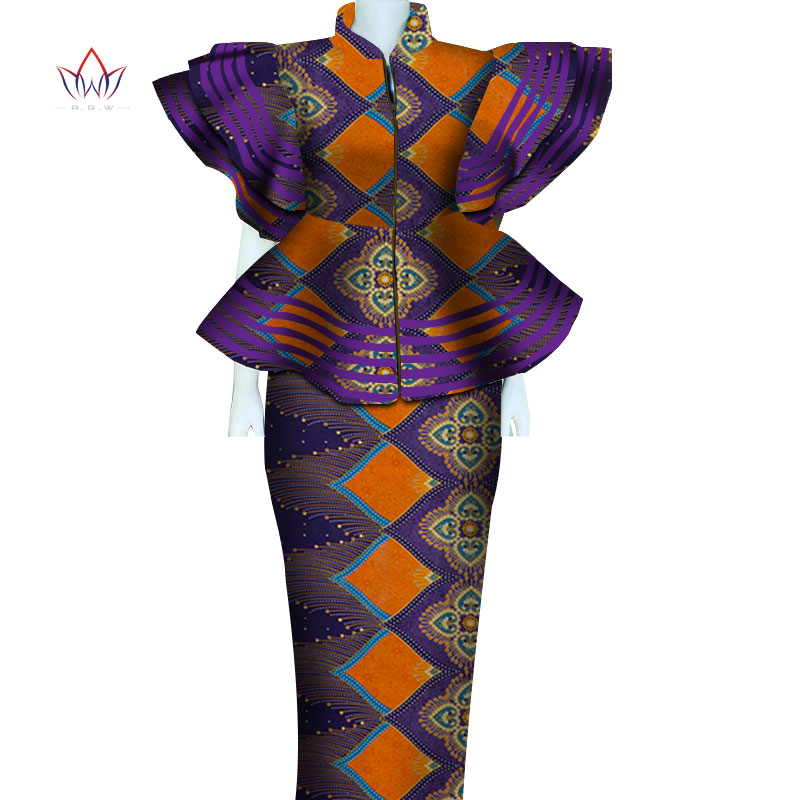 Women African Clothing Dashiki Bazin Riche Women Skirt Set Party Print Patchwork Customization Zipper Top Skirts Sets 4864