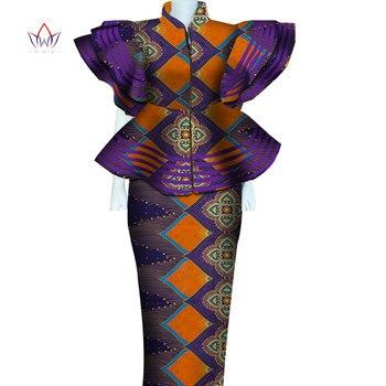 Women African Clothing Dashiki Bazin Riche Women Skirt Set Party Print Patchwork Customization Zipper Top Skirts Sets 4864