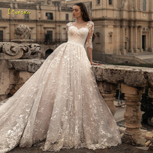 Wedding-Dresses Bridal-Gown Sexy Vintage Chapel Train Loverxu Lace Appliques Half-Sleeve