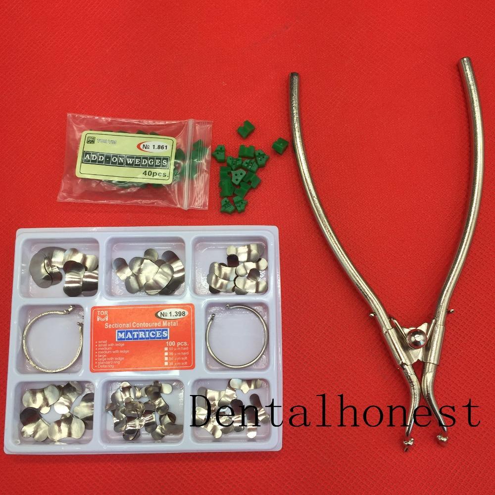 Matrizes de metal de contorno secional da matriz dental do jogo completo de 100 pces no.1.398 2 anéis 40 pces silicone add- on cunhas material dental