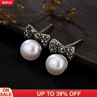 One Deer Silver S925 Pure Silver Retro Butterfly Knot Pearl Taiyin Lady's Simple and High grade Ear Nail Ear Jewelry