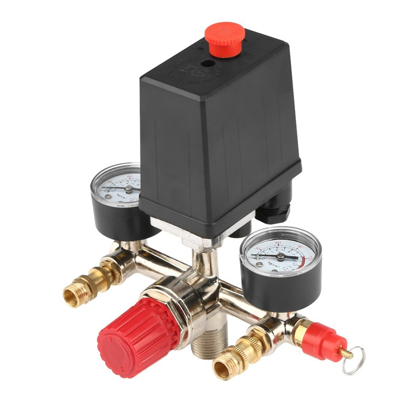 Adjustable Pressure Switch Air Compressor Switch Pressure Regulating With 2 Press Gauges Valve Control Set|Pressure Monitors| |  - title=