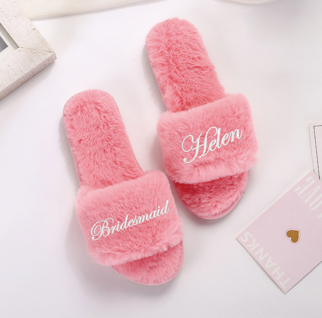 Women's Wedding Plush Slippers for Party