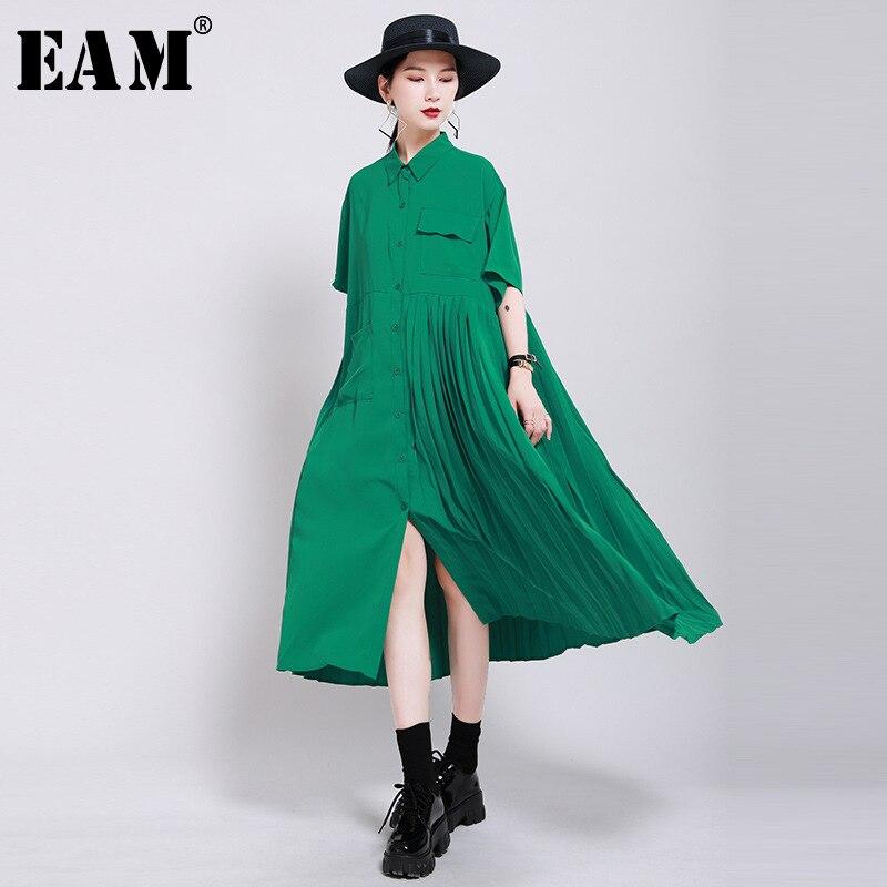 [EAM] Women Green Pleated Split Big Size Shirt Dress New Lapel Half Sleeve Loose Fit Fashion Tide Spring Summer 2020 1W199