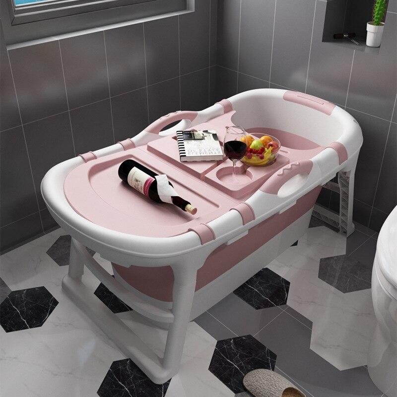 Folding Bathtub Adult Bath Barrel With Massage Particles Double Drain Bath Bucket Plastic Bathtub Body Tub Household Artifact