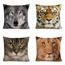 Lion Tiger Wolf 3D Printed Polyester Cushion
