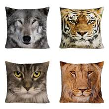 Lion Tiger Wolf 3D Printed Polyester Cushion(China)